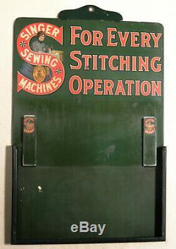Antique vtg 1890s-1910 SINGER Sewing Machine TIN SIGN Perpetual CALENDAR Passaic