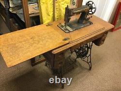 Atq. Early 1900s Singer Treadle Sewing Machine Model G726773 withOak Cab. (MAR21)