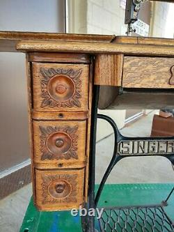 Beautiful 1908 singer 27 sewing machine in 7 Drawer cabinet Withpheasant decals