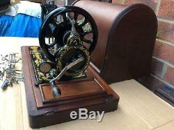 Beautiful Antique SINGER 48K Sewing Machine with Ottoman Carnation Decals