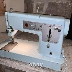Near Mint Working Singer 348 Made In Great Britain Electric-Blue Sewing Machine