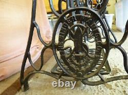Ornate Antique 27k Singers Treadle Crank Sewing Machine & Oak Table With Drawers