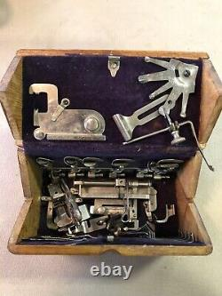 RARE Antique SINGER Sewing Machine Folding Puzzle Box With Acc. Feb 1889 Patent