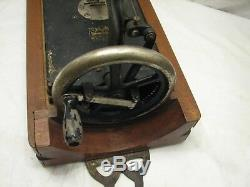 Rare Antique Lead Hand Crank Sewing Machine Victorian withWooden Case Japan