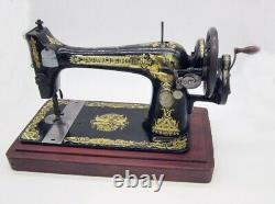 Rare Antique Singer Sewing Machine Hand Cranked 27k 1912 Sphinx Decals Working