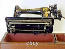 Singer 66K 1917 Sewing Machine Hand Crank Lotus Flower Vintage Antique Collectab