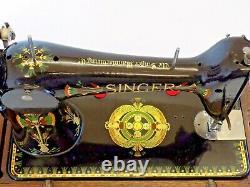 Singer 66K 1917 Sewing Machine Hand Crank Lotus Flower Vintage Antique Collectib