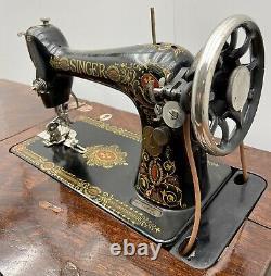 Singer Model 66 Red Eye Sewing Machine & 5 Drawer Treadle Cabinet