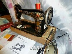 Singer Redeye 66 Sewing Machine withMan, Accs, Needles, Bobbins, Converted