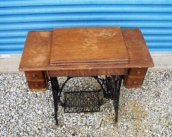 Vintage 1925 Singer No 66-1 Black Treadle Sewing Machine with Original Cabinet