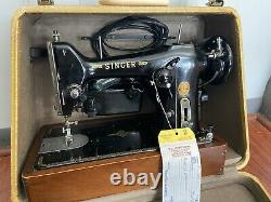 Vintage Antique 1950s Singer Sewing Machine With Art Deco Case! Tested Works