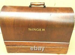 Vintage Singer 99, 99K hand crank sewing machine with accessories and case