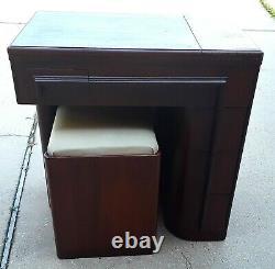 Vintage Singer Art Deco Streamline Sewing Cabinet Original Bench Chair
