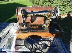 Vintage Singer Sewing Machine Model 66 PARTS REPAIR, Bent Wood Case, AS IS