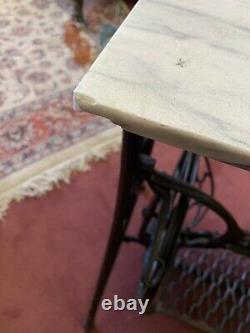 Vintage Singer Sewing Machine Treadle Accent Table with Marble Top REDUCED PRICE