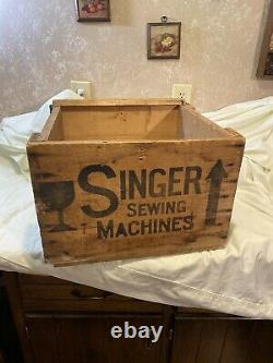 Vintage Singer Sewing Machine Wooden Shipping Crate Box Antique Rustic Decor