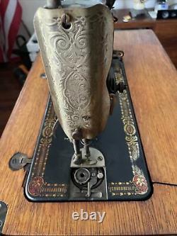 Vtg Antique Singer Treadle Sewing Machine Table Cabinet Cast Iron Oak Wood