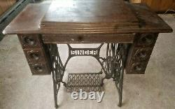 Wheller and Wilson Singer Antique/Vintage hand crank Sewing Machine/wooden table