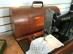 Working Antique Singer 99K Electric Portable Sewing Machine+Bentwood Case