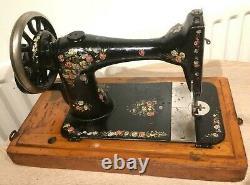 1889 Antique Singer 28k Handcrank Machine À Coudre Avec Roses Colorées Et Marguerites