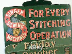 1890.-1910 Antique Vtg Machine À Coudre Singer Tin Signe Perpétuel Passaic