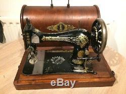 1894 Chanteur Antique 28k Machine À Coudre Avec Manivelle Cas