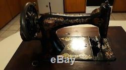 1900 Singer Antique / Vintage Machine À Coudre Avec Manivelle Cas