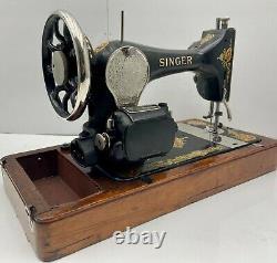 1919 Singer Model 128 La Vencedora Portable Machine À Coudre - Oak Bentwood Case