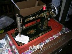 1920 Singer 66 Hand Crank Machine À Coudre Serviced Sews Smooth Stitch Child Safe
