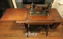 1923 Singer Model 66 Red Eye Electric Sewing Machine 7-drawer Cabinet+attachment