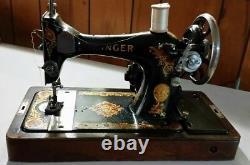 1924 Singer Sewing Machine Ser # Aa148569 Knee Bar Accessoires Wooden Case Works