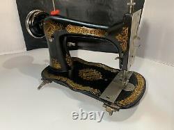 Antiquaire 1891 Singer Treadle Sewing Machine Fiddle Base, Shuttle, Modèle 27 Vs2
