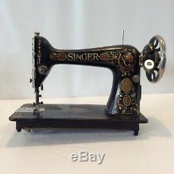 Antique 1899 Machines À Coudre Singer Or Noir Rouge Avec Roue Ornement Plaques