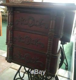 Antique 1900 Chanteur Treadle 6 Tiroirs Machine À Coudre Oak # N178668 Elizabethtown