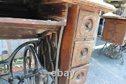 Antique 1906 H967694 Machine À Coudre Chanteur - Stand 6 Drwer Bande De Roulement Fonte Fonte @@@