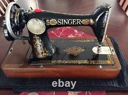 Antique 1917 Singer Machine À Coudre 66 Red-eye Main-manivelle Bent-wood Cas De Travail