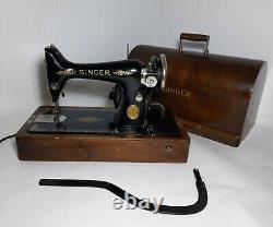 Antique 1922 Singer 99k Machine À Coudre Avec Étui En Bois, Pédale Genou / Levier Vintage