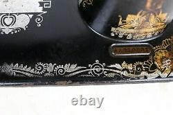 Antique 1924 Singer Model 127 Egypte Decal Treadle Sewing Machine Head Only Works