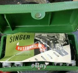 Antique Couture Portable Singer 1950 Machine Avec Cas Et Extras