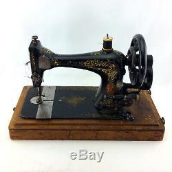 Antique Machines À Coudre Singer 28k Vintage 1800 Noir Manivelle De Travail En Cas