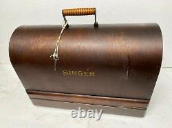 Antique Original Singer 128k Cast Iron Hand Crank Machine À Coudre & Carry Case