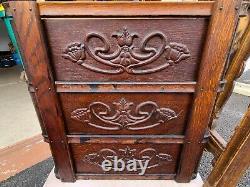 Antique Ornate Tiger Wood Singer Treadle Sewing Machine Tiroirs / Cadres (6)