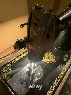 Antique Singer 15k Hand Crane Machine À Coudre Et Accessoires/manual/carry Box