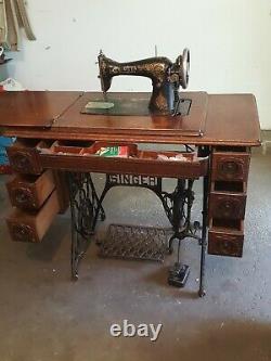 Antique Singer 1917 Machine À Coudre 7 Tiroirs Électriques Intégrés