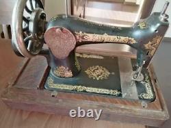 Antique Singer 28k Hand-crank Machine À Coudre Avec Boîtier