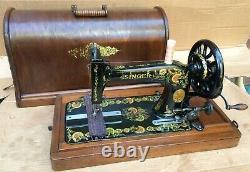 Antique Singer 48k Machine À Coudre Avec Boîtier Et Ottoman Oeillets Décals 1903