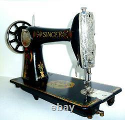 Antique Singer 66k Lotus Couture Machine À Coudre Toile En Cuir Denim Rare Vtg Victorien