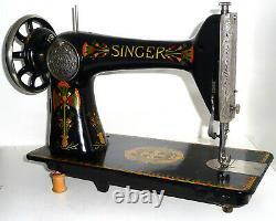 Antique Singer 66k Lotus Machine À Coudre En Cuir Denim Toile Rare Victorienne Vtg