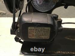 Antique Singer Cabinet Mount Sewing Machine Model 15 Testé Avec Pedal