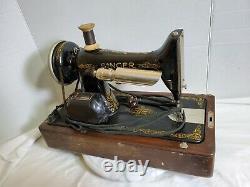 Antique Singer Fabrication Machine À Coudre Électrique Avec Boîtier Bentwood Bu7-e